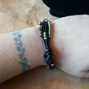 Black leather cord bracelet with beads